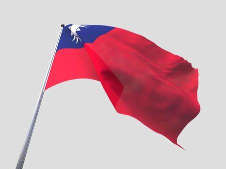 flying flag: Taiwan flying flag isolate on white background