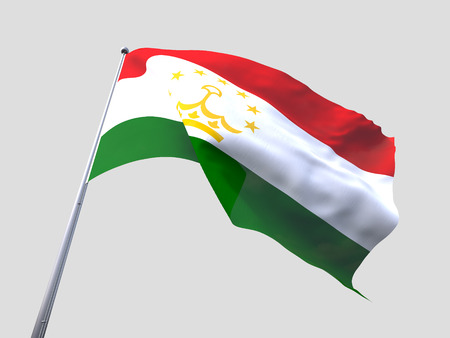 tajikistan: Tajikistan flying flag isolate on white background