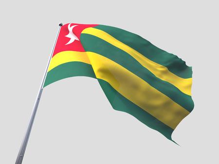 flying flag: Togo flying flag isolate on white background Stock Photo