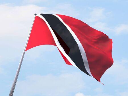 tobago: Trinidad and Tobago flag flying on clear sky.