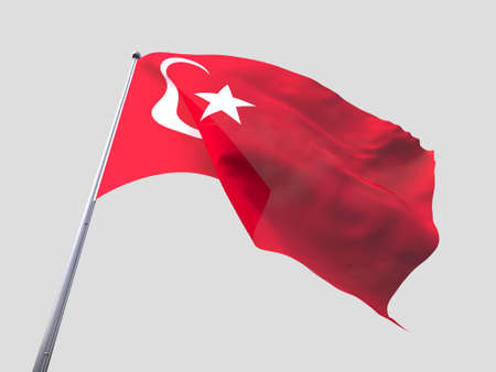 flying flag: Turkey flying flag isolate on white background Stock Photo