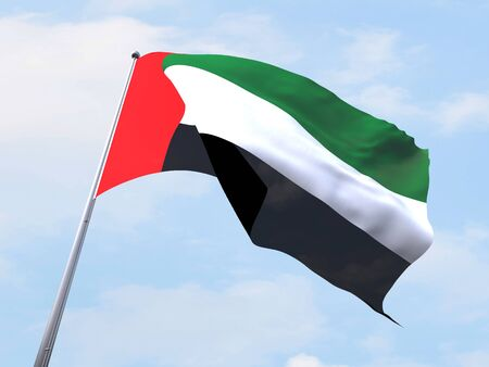clear sky: United Arab Emirated flag flying on clear sky. Stock Photo