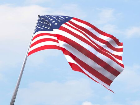 clear sky: United States flag flying on clear sky.
