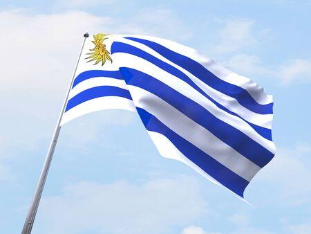 uruguay flag: Uruguay flag flying on clear sky.