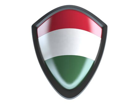 garrison: Hungary flag on metal shield isolate on white background. Stock Photo