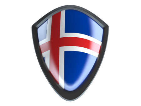 iceland flag: Iceland flag on metal shield isolate on white background.