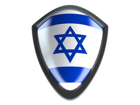 garrison: Israel flag on metal shield isolate on white background.
