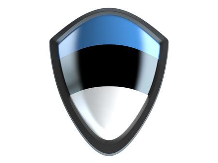 garrison: Estonia flag on metal shield isolate on white background. Stock Photo