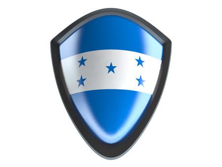 bandera honduras: Honduras flag on metal shield isolate on white background. Foto de archivo