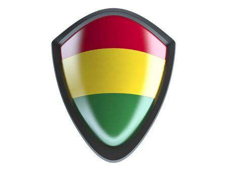 bandera de bolivia: bandera de Bolivia en el escudo aislante del metal en el fondo blanco.