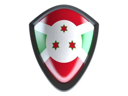 garrison: Burundi flag on metal shield isolate on white background.