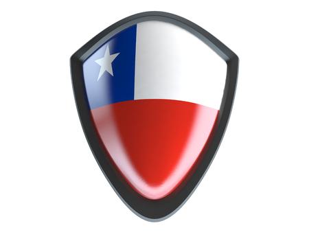 flag of chile: Bandera de Chile en el escudo de metal aislado en el fondo blanco. Foto de archivo