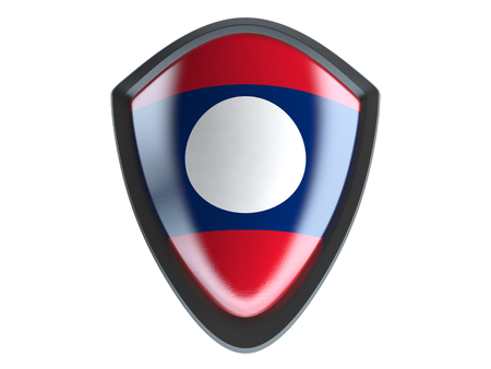 garrison: Laos flag on metal shield isolate on white background. Stock Photo