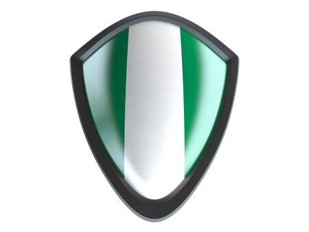 garrison: Nigeria flag on metal shield isolate on white background.