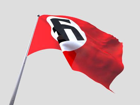 nazi flag: Nazi flying flag isolate on white background.