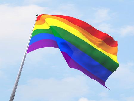 rainbow sky: Rainbow flag flying on clear sky.