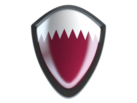 metal shield: Qatar flag on metal shield isolate on white background.