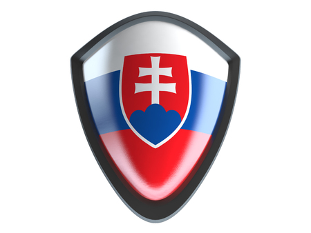 slovakia flag: Slovakia flag on metal shield isolate on white background. Stock Photo