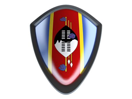 garrison: Swaziland flag on metal shield isolate on white background.