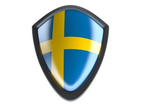 bandera de suecia: Sweden flag on metal shield isolate on white background. Foto de archivo