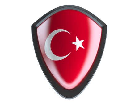 garrison: Turkey flag on metal shield isolate on white background.