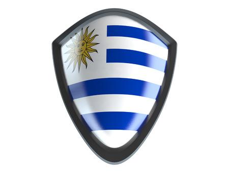 bandera de uruguay: bandera de Uruguay en el escudo aislante del metal en el fondo blanco.