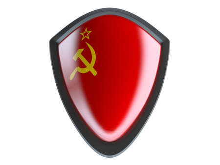 soviet flag: Soviet Union flag on metal shield isolate on white background. Stock Photo