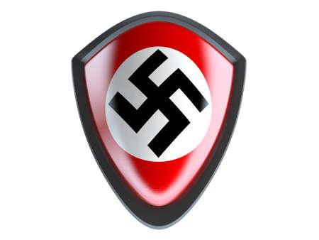 nazi flag: Nazi flag on metal shield isolate on white background. Editorial