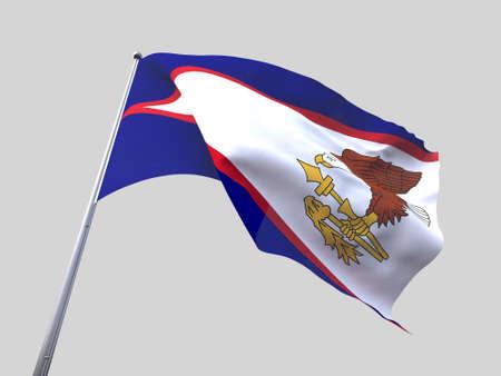 flying flag: American Samoa flying flag isolate on white background.