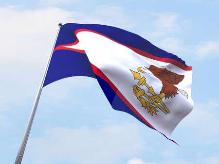 samoa: American Samoa flag flying on clear sky.