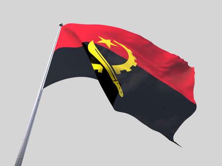 flying flag: Angola flying flag isolate on white background.