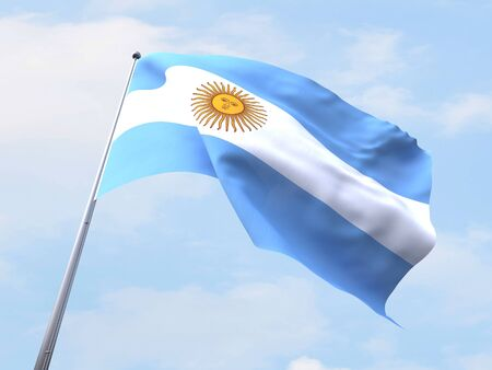 argentina flag: Argentina flag flying on clear sky. Stock Photo