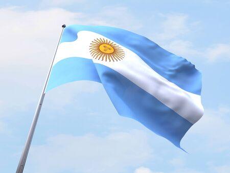 bandera argentina: Bandera Argentina que vuelan en el cielo claro. Foto de archivo