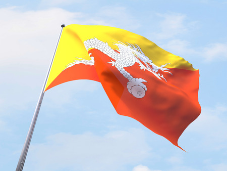 bhutan: Bhutan flag flying on clear sky.