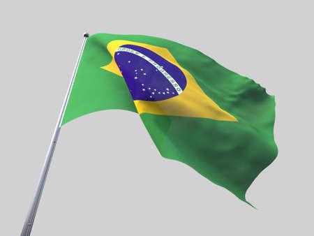 flying flag: Brazil flying flag isolate on white background. Stock Photo