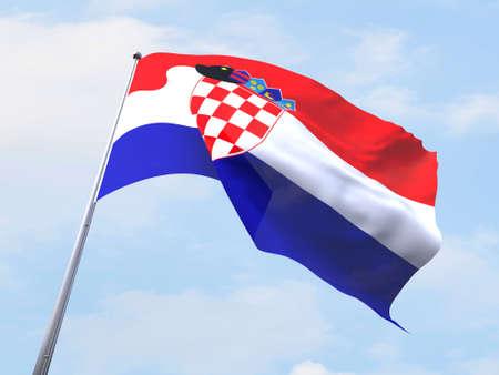 bandera croacia: Bandera de Croacia que vuelan en el cielo claro.
