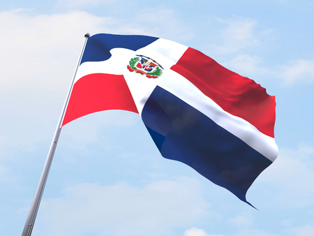 clear sky: Dominican Republic flag flying on clear sky.