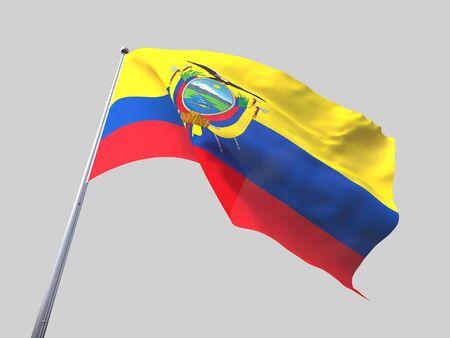 flying flag: Ecuador flying flag isolate on white background. Stock Photo