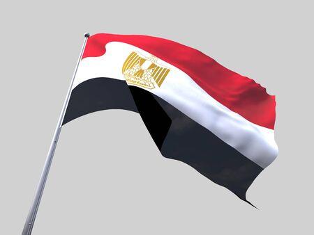 flag of egypt: Egipto bandera volando aislar sobre fondo blanco. Foto de archivo
