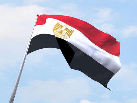 egypt flag: Egypt flag flying on clear sky.