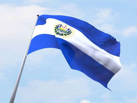 bandera de el salvador: El Salvador bandera ondeando en el cielo claro.
