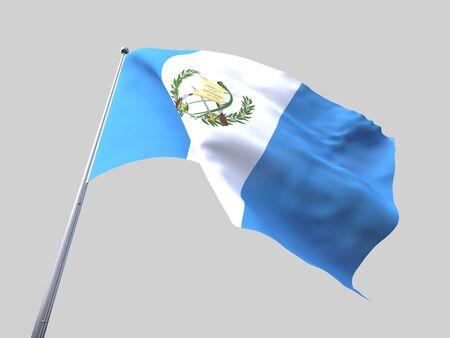 flying flag: Guatemala flying flag isolate on white background.