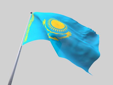 flying flag: Kazakhstan flying flag isolate on white background.