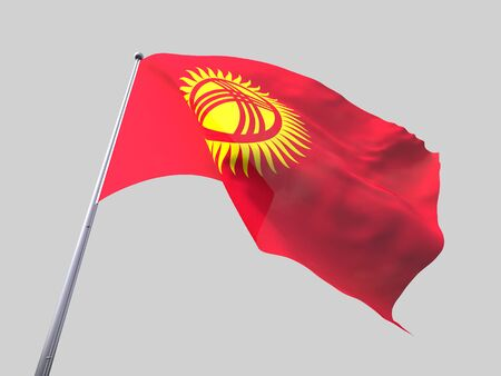 flying flag: Kyrgyzstan flying flag isolate on white background.