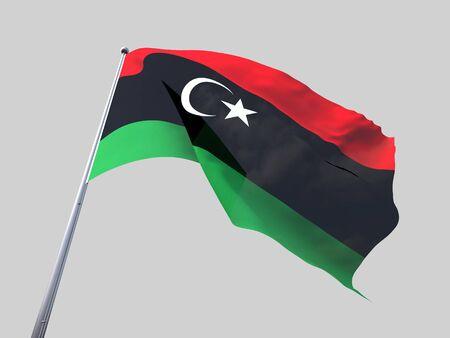 flying flag: Libya flying flag isolate on white background.