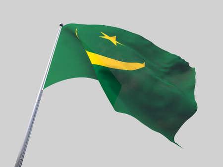 flying flag: Mauritania flying flag isolate on white background.