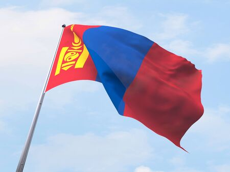 white flag: Mongolia flag flying on clear sky.