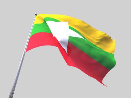 flying flag: Myanmar flying flag isolate on white background.