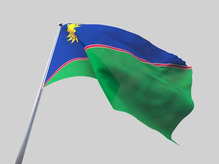flying flag: Namibia flying flag isolate on white background.