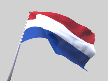 flying flag: Netherlands flying flag isolate on white background.